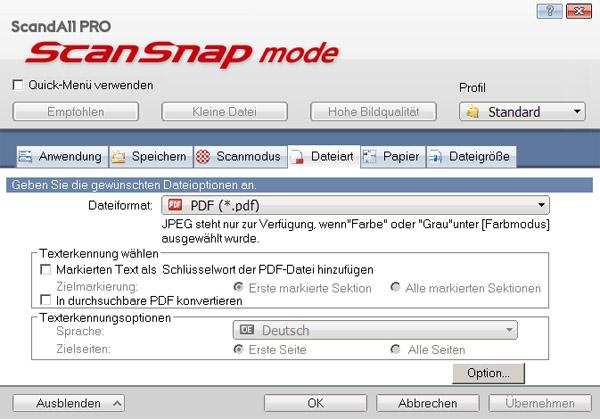 ScanSnap Mode in ScandAll Pro V2