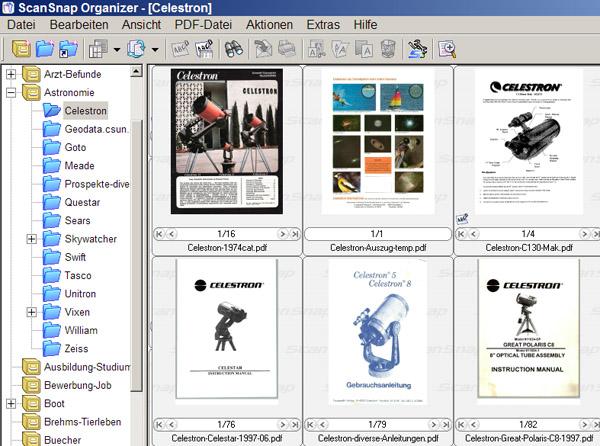 ScanSnap Organizer - Übersicht über PDF Dateien